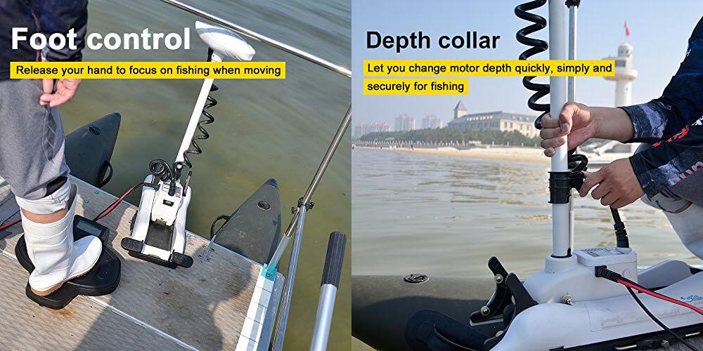 AQUOS Haswing Cayman motor has Wired Foot Control & Depth Collar